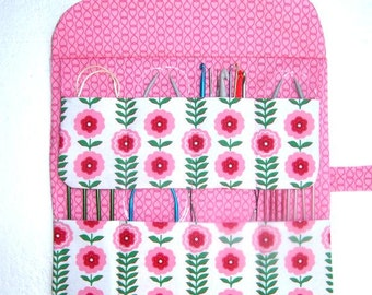 Pink Floral Circular Knitting Needle Holder, White Green Crochet Hook Storage, Double Pointed Needle DPN Organizer, Makeup Brush Case