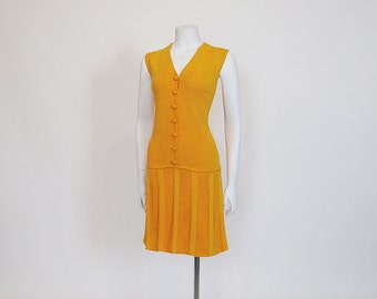 1960s Dress / Drop It Low Vintage 60's St. John Yellow Drop Waist Knit Sweater Dress