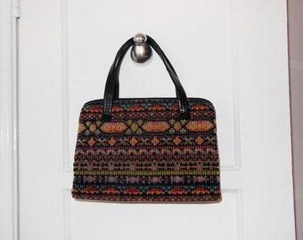 1960s purse / Vintage 60's Mod Vegan Carpet Bag