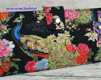 Handmade Long Wallet  BiFold Clutch Vegan Wallet -  Peacock's in the Rose Garden