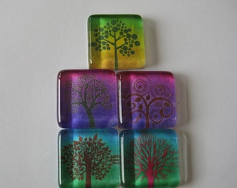 Pretty Trees Square Glass Magnets Set of 5