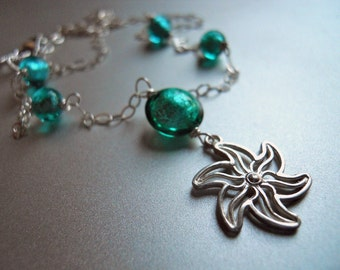 Stella di mare necklace, starfish necklace, murano glass necklace, ships from USA, apatite blue necklace, charm necklace