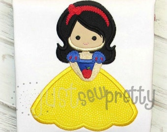 Snow Apple Princess Embroidery Applique Design