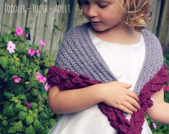 Download Now - CROCHET PATTERN Rose Petal Wrap - 2 T to Ladies X L - Pattern PDF