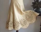 Skirt with rosettes in mustard yellow, prairie bride skirt, woodland skirt, summer wedding skirt, boho skirt, denim cotton canvas skirt