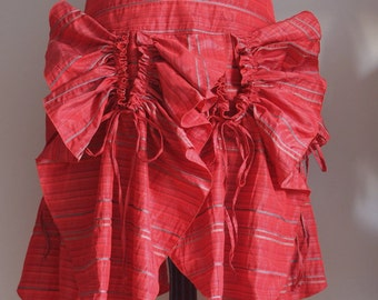 Coral red glamorous PETALS SKIRT, taffeta skirt, boho skirt, adjustable length skirt, party skirt, Holidays skirt