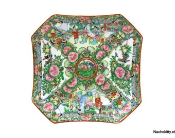 1900s Rose Medallion China Square Plate, 8 1/8 Inches