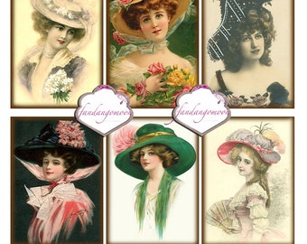 6 Images atc 2.25 by 3.25 ATC Cards Tags Girls in Big Hats Vintage Paper crafts Scrapbook Digital Download Printable