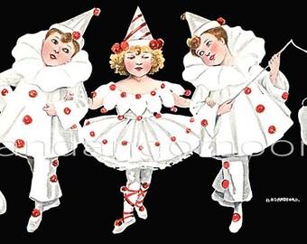 Three Children in Clown Pierrot Costume Girl n Boys Invitation postcard image Antique Digital Instant Download Printable