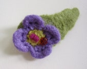 Crocheted Felted Floral Barrette