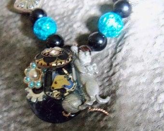 original art pendant steampunk cat vintage pendant black and blue