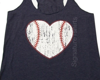 Funny Baseball Tank top. Baseball shirt. Baseball womens Tank. Vintage baseball heart graphic sport game tank top