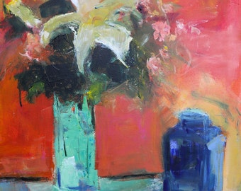 """FLORAL ABSTRACT PAINTING Original """"Lilium"""" Acrylic on 24""""H x 20""""W canvas by Contemporary Artist Elizabeth Chapman"""