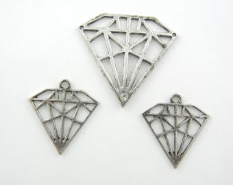 Set of Diamond Cut-out Pendant and Charms
