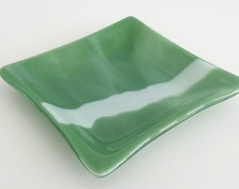 Green and White Fused Glass Dish