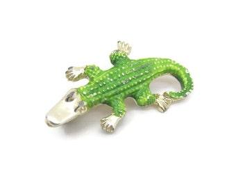 Vintage Alligator Brooch 60s 70s unsigned Silver Enamel Crocodile