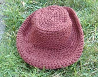 Crochet Baby Cowboy Hat, fits 14 in. head 0-3 months, Photo Prop