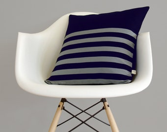 Modern Multi-Stripe Pillow Cover in Navy and Grey Linen (18x18) by JillianReneDecor - Masculine Home Decor - Striped Pillow - Gift for Him