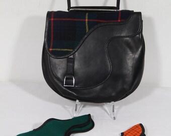 VINTAGE Italian Black Leather TOTE HANDBAG Bag w/ interchangeable flaps ga