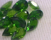 One Green Chrome Diopside Gemstone 5x3 mm Faceted Pear Average .23 carat