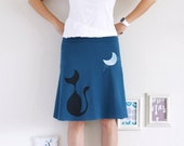 Midi Cotton Skirt, Women Jersey Skirts, Cat Skirt, Teal Blue a line skirts knee length, Cute Skirts, Knit Skirt - Our cat and the moon