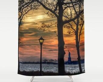 Sunset in New York, Shower Curtain, Landscape, Urban, Bathroom, Modern, Home Decor, Photography, City, Statue of Liberty, Orange, Skyline