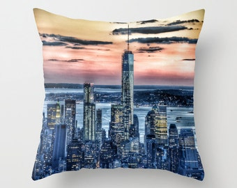 Sunset in NEW YORK Throw Pillow, 16x16, 18x18, 20x20, Skyline Decorative Pillow, Urban Cushion, Wedding Gift, Living Room, Manhattan, Dorm