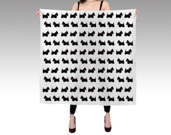 Scotty Dog Habotai Silk Scarf, Printed Scarf, Black White Scarf, Wearable Art, Fashion, Scottie Dog Silk Shawl, Christmas Gift, Square