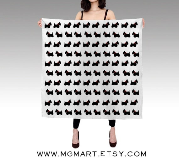 Scotty Dog Habotai Silk Scarf, Printed Scarf, Black White Scarf, Wearable Art, Fashion, Scottie Dog Silk Shawl, Christmas Gift, Square