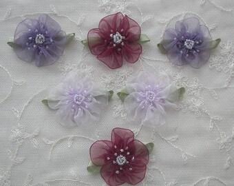 6pc Glass Beaded Purple Lavender Burgundy Organza Fabric Flower Applique Baby Doll Christening Bridal Corsage