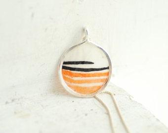 Orange Black Necklace, Striped Jewelry, Wearable Art Original Painting Pendant