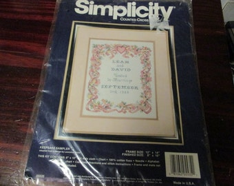 Counted Cross Stitch Kit Keepsake Sampler Wedding Simplicity 05535 Count Cross Stitch