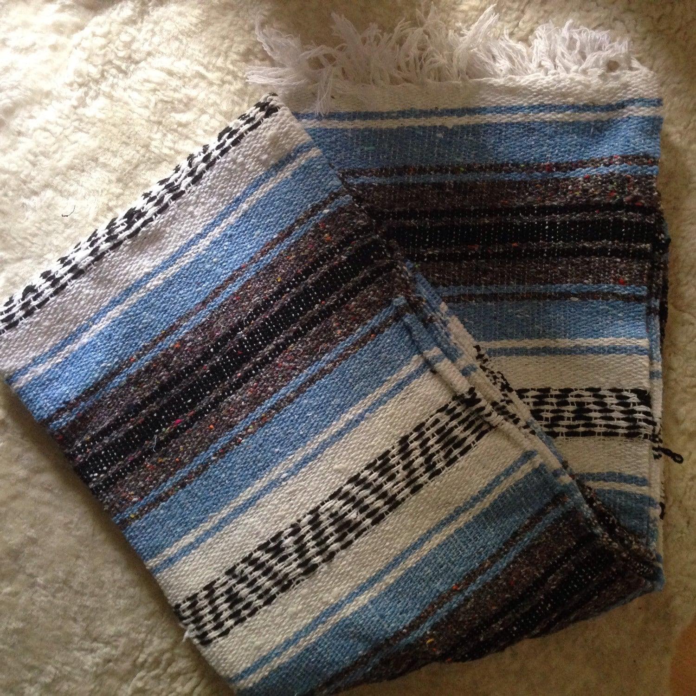 Vintage Serape Mexican Saltillo Blanket Rug Robins Egg Blue