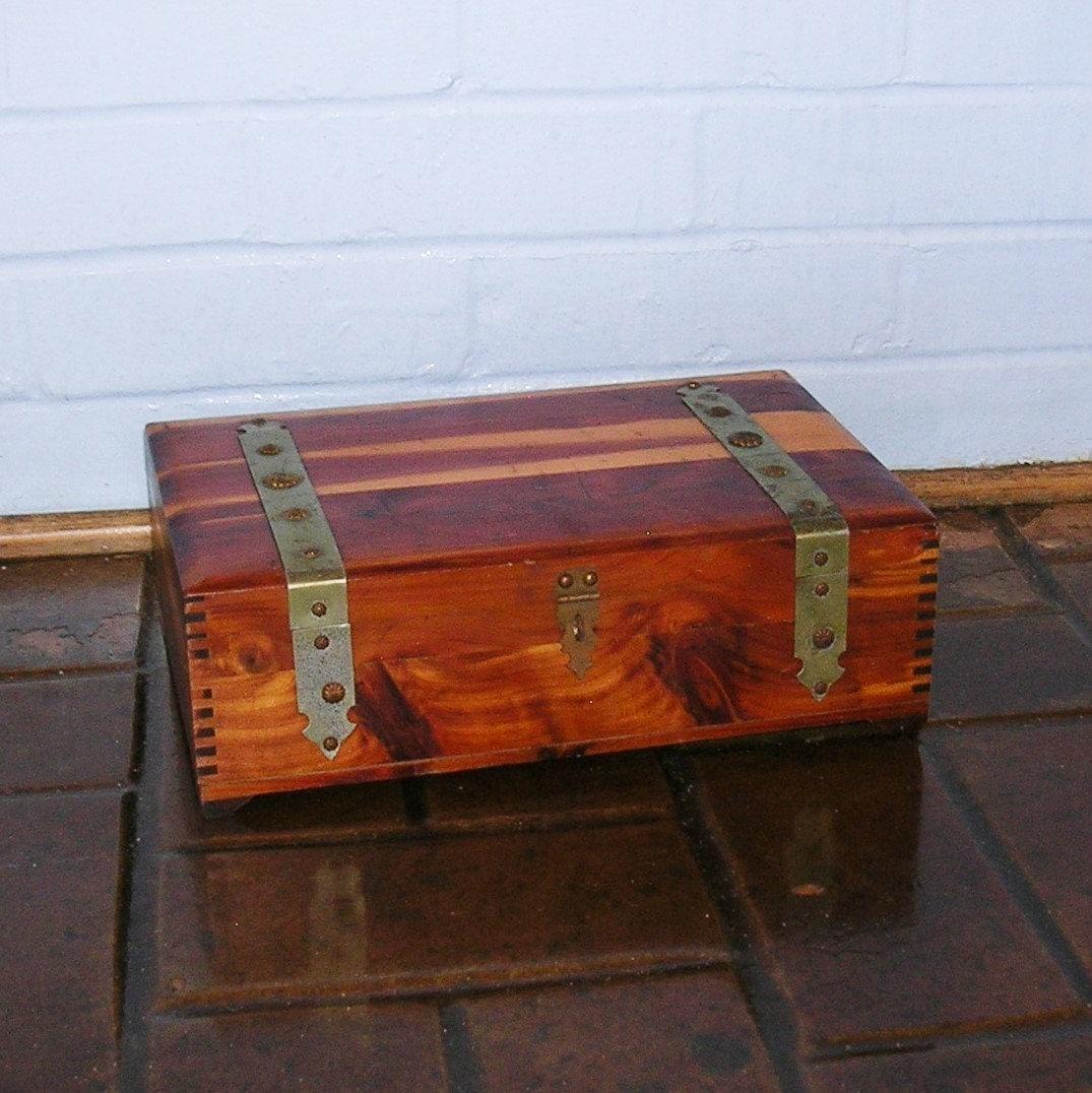 Antique vintage wood wooden cedar chest