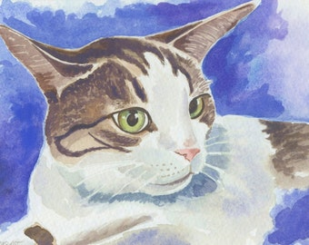 Original Cat Watercolor Painting, Kitty Cat Lover Gift, Cat Home Decor
