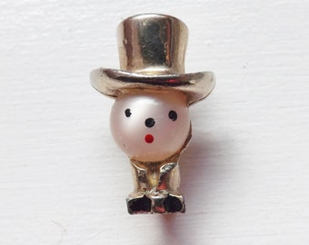 Vintage Victorian dapper man brooch or pin top hat hand painted mother of pearl face