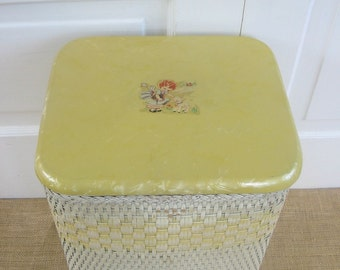 Vintage Yellow Baby Hamper Wicker Child Girl Sheep Decal Nursery Storage Decor