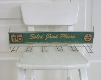 Vintage Metal Rack Clothes Jewelry Coat Hooks Green Sign Industrial Decor