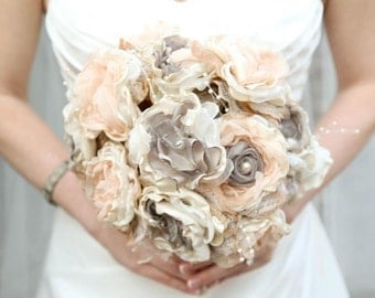 Bridal Brooch Bouquet Vintage Fabric Bouquet Gray Soft Coral and Ivory Fabric flower bouquet , alternative bouquet wedding bouquet