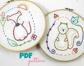 Woodland Animals Fox & Squirrel Nursery Art Hand Embroidery Pattern