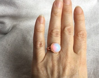Opalite ring, rose gold jewelry