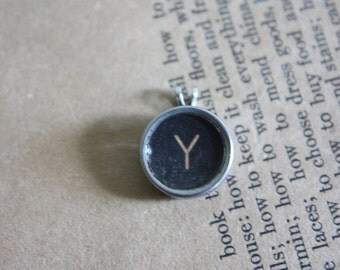 "Typewriter Key Pendant Necklace Letter ""Y"""