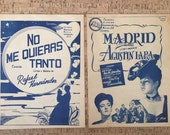 60s Sheet Music, 2 Mexican Piano Solos, 1968 Print, Blue Vintage 60s Art, No Me Quieres Tanto, Madrid, Tango Music, Romantic Mexico Set of 2