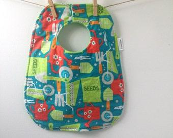 SALE Gardening Baby Gift - Oversize Baby Bib with Snaps