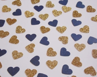 Gold Glitter and Navy Blue Heart Confetti, Wedding Reception Decoration, Table Scatter, Glitter Confetti, Bridal Shower Decor