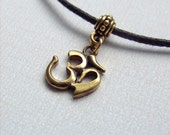 "Om Necklace - Aum Choker - Brass Om Charm on 16"" Black Cord - Yoga Symbol - Hindu - Zen Jewelry - Spiritual Jewelry - Yoga Necklace"