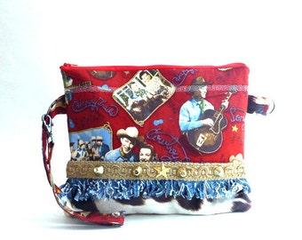 Rockabilly bag, 50's retro wristlet, western bag, western clutch, western wear, western wedding, country western bag, rodeo, zipper wristlet