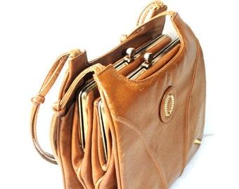 Sale 20% of Vintage 70s camel- light brown- caramel patent  distressed leather,  four compartment ,vertical shoulder bag.