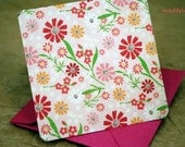 Blank Mini Card Set of 10, Summery Floral with Contrasting Pattern on the Inside, Metallic Pink Envelopes,mad4plaid