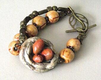 Bird Nest Bracelet, Bird Nest Jewelry, Brown Bird Jewelry, Bird Bracelet, Ceramic Bracelet, Wearable Art Bracelet, Valentine Gift for Birder